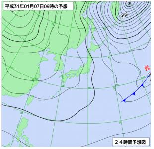 1月7日(月)9時の予想天気図