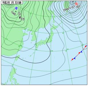 1月7日(月)15時の実況天気図