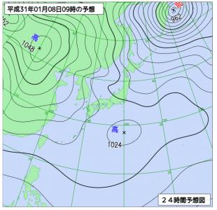 1月8日(火)9時の予想天気図