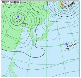 1月8日(火)15時の実況天気図