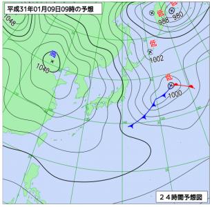 1月9日(水)9時の予想天気図