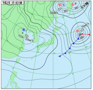 1月9日(水)15時の実況天気図