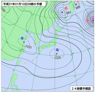 1月10日(木)9時の予想天気図