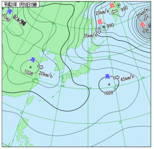 1月10日(木)15時の実況天気図