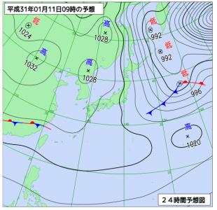 1月11日(金)9時の予想天気図