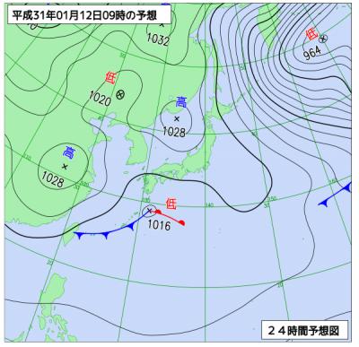 1月12日(土)9時の予想天気図