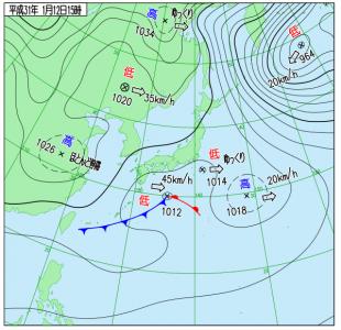 1月12日(土)15時の実況天気図