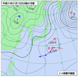 1月13日(日)9時の予想天気図
