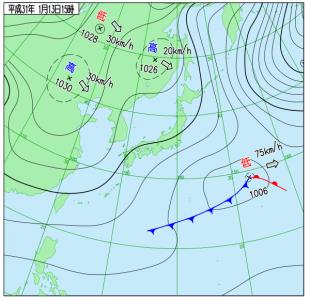 1月13日(日)15時の実況天気図