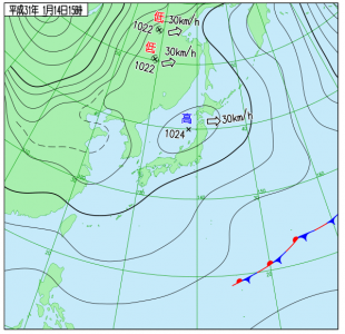 1月14日(月祝)15時の実況天気図