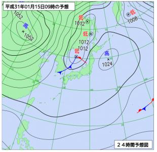 1月15日(火)9時の予想天気図