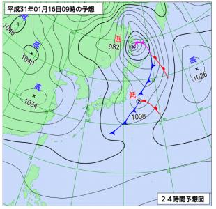 1月16日(水)9時の予想天気図