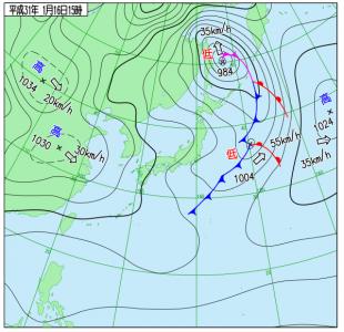 1月16日(水)15時の実況天気図