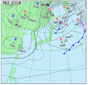1月17日(木)15時の実況天気図