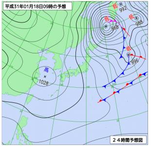 1月18日(金)9時の予想天気図