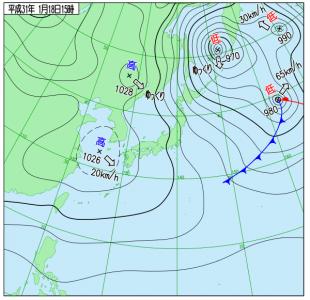 1月18日(金)15時の実況天気図