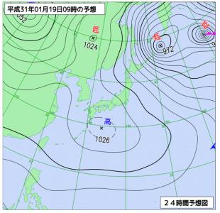 1月19日(土)9時の予想天気図
