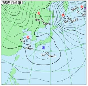 1月19日(土)15時の実況天気図
