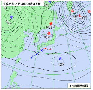 1月20日(日)9時の予想天気図