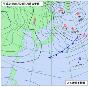 1月21日(月)9時の予想天気図