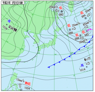 1月21日(月)15時の実況天気図