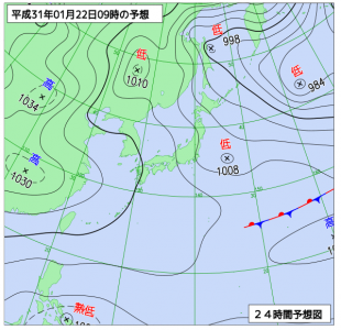 1月22日(火)9時の予想天気図