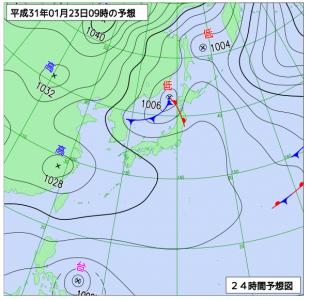 1月23日(水)9時の予想天気図