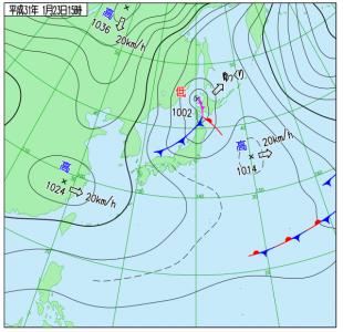 1月23日(水)15時の実況天気図