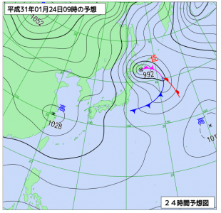 1月24日(木)9時の予想天気図