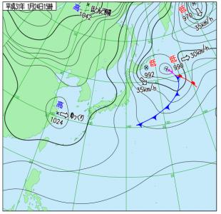 1月24日(木)15時の実況天気図
