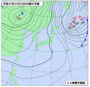 1月25日(金)9時の予想天気図