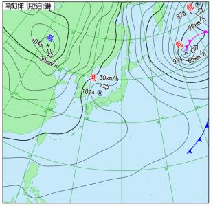 1月25日(金)15時の実況天気図