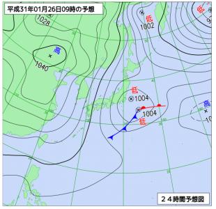 1月26日(土)9時の予想天気図