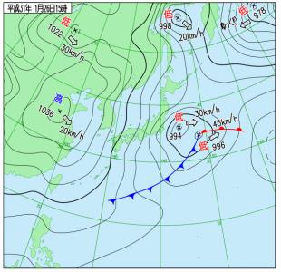 1月26日(土)15時の実況天気図