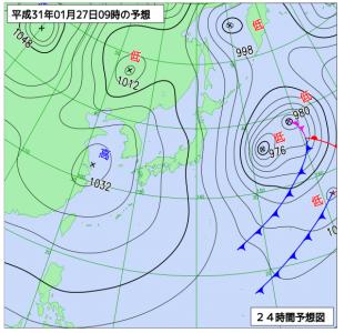 1月27日(日)9時の予想天気図