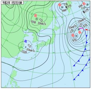 1月27日(日)15時の実況天気図