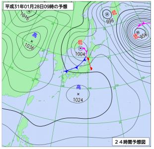 1月28日(月)9時の予想天気図