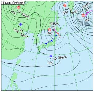 1月28日(月)15時の実況天気図