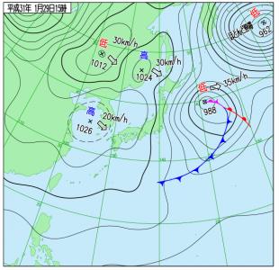 1月29日(火)15時の実況天気図