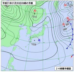 1月30日(水)9時の予想天気図