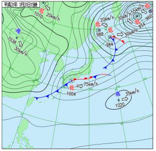 1月31日(木)15時の実況天気図