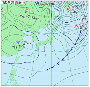 2月1日(金)15時の実況天気図