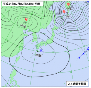 2月2日(土)9時の予想天気図