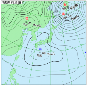 2月2日(土)15時の実況天気図