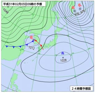 2月3日(日)日9時の予想天気図
