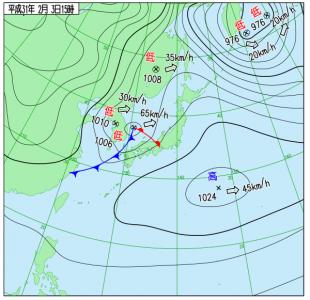 2月3日(日)15時の実況天気図