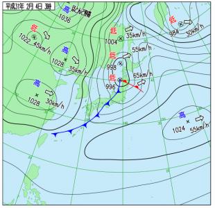 2月4日(月)3時の実況天気図