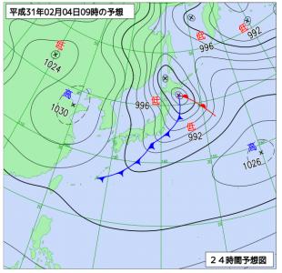 2月4日(月)9時の予想天気図
