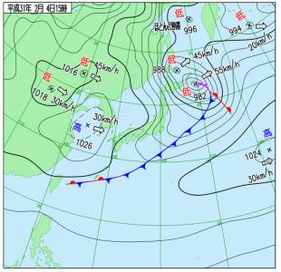 2月4日(月)15時の実況天気図