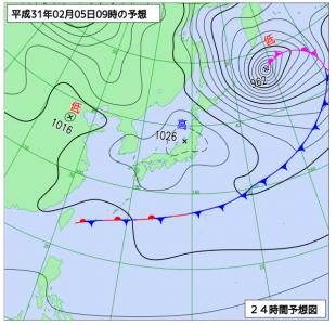 2月5日(火)9時の予想天気図